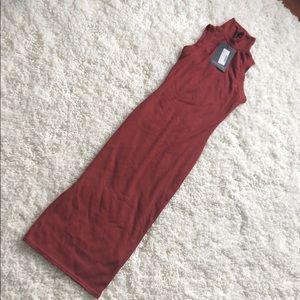 PrettyLittleThing Brick Rib High Neck Midi Dress